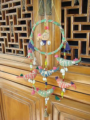 Vintage Handcrafted Hanging Mobile with Bell Hand Made Birds Seashells Ribbons