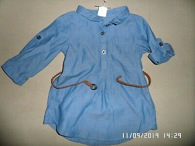 New With Tags H&M Baby Girls Shirt Dress With Belt 4-6 Months