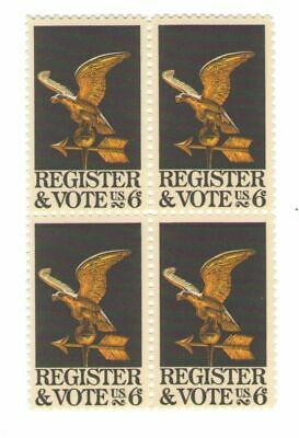 Register to Vote 49 Year Old Mint Vintage Stamp Block from 1968