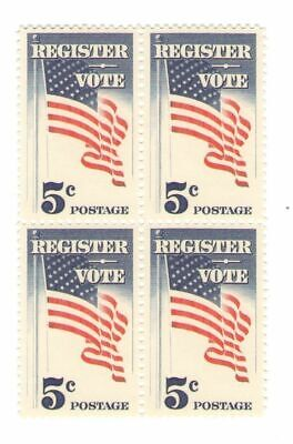 Register to Vote 53 Year Old Mint Vintage US Postage Stamp Block from 1964