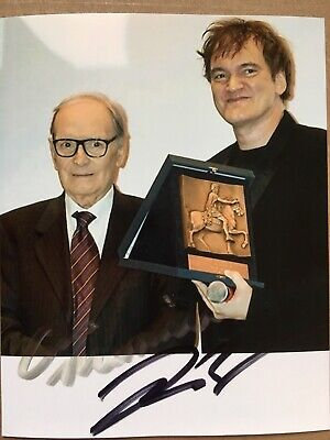 Ennio Morricone & Quentin Tarantino Hand Signed Autograph Photo *OFFERS WELCOME*