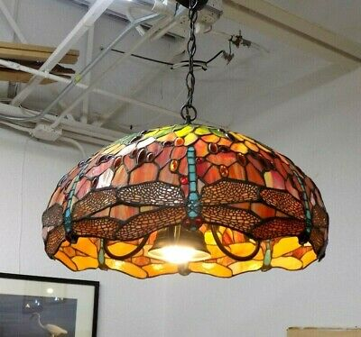 Magnificent Rare Vintage Tiffany-styled Dragonfly 5-Light Stain Glass Chandelier