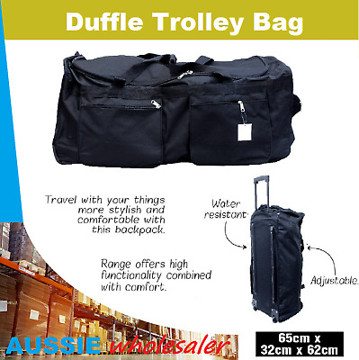 Rolling Duffle Trolley Bag 65cm Travel Tote Carry-On Luggage Wheeled Suitcase