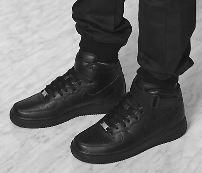 New NIKE Air Force 1 Mid  leather Shoes Mens triple black all sizes