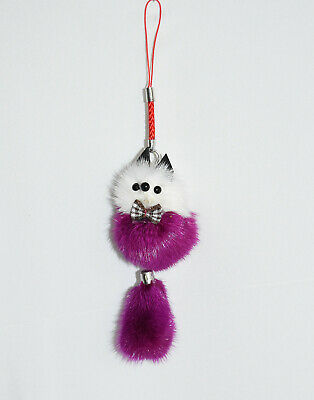 Adorable Fuzzy Assorted Color & White Fox Purse or Book Bag Charm