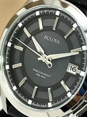 Bulova Precisionist 96B158 Men's Black Dial Leather Strap Watch *SOLD AS IS*
