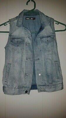 AS NEW KSUBI KIDS Target Designer Denim Cut Off Studded Vest Unisex Girls/Boys 5