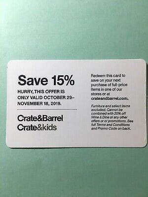 Crate & Barrel 15% off full-priced items Online Instore Expires 11/18/19
