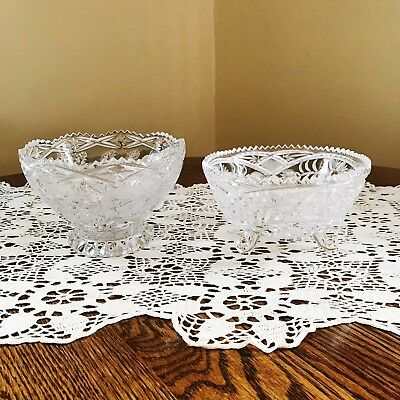 Two Vintage Cut Glass Bowls Candy Dishes Nuts Footed Pedestal