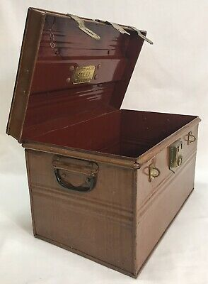 Antique English R. Perry Son & Co. Steel & Brass Box Wolverhampton England