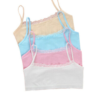 Young Girls Cotton Bra Puberty Teenage Soft Lace Underwear Training Bra 8-15Y--