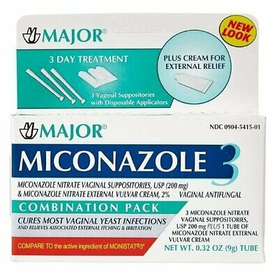 Major Miconazole 3 Day Vaginal Suppositories Combination Pack 3 Ct (Pack of 12)