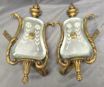 Pair of Two 2 Antique Bronze Venetian Mirror Etched Glass Curtain Hook Tiebacks