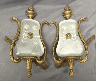 Pair of Two Antique Bronze Venetian Mirror Etched Glass Curtain Hooks Tiebacks