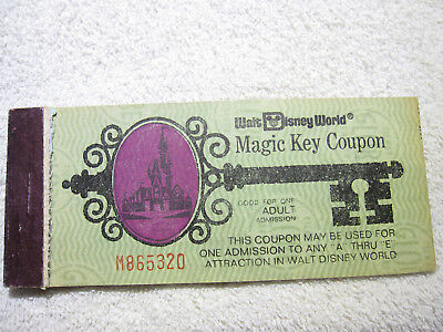 1975 Disney World Adult Magic Key ticket coupon book booklet Disney old 1970's