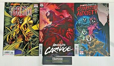 Lot 3 Absolute Carnage Comics Artgerm Variant Scream Separation Anxiety Venom NM