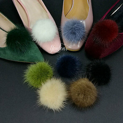 1 Pair Mink Fur Pom Pom Shoe Clips Fluffy Ornament Heels Boots Charm Decoration
