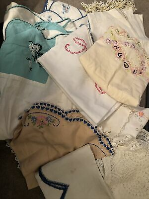 6 Vintage Embroidered Table Cloths Table Runners Cut Work Very Nice Estate Finds