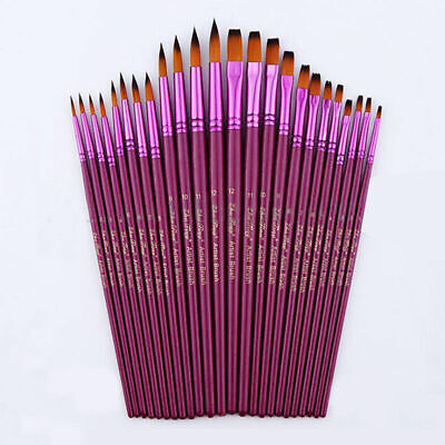12* Purple Oil Painting Brushes Set Acrylic Watercolor Artist Face Paint Craft