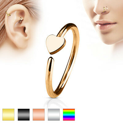 Ring for Nose or Ear Cartilage Surgical Steel 316L, in 5 Colours
