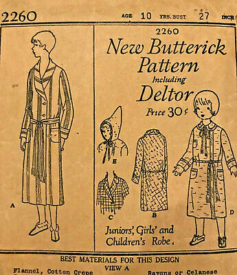 Antique Edwardian 1910's New Butterick Sewing Pattern 2260 Junior's/Child's Robe