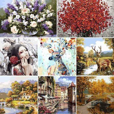 DIY Oil Painting Animal Floral By Numbers Art Paint Home Decors Sets Frameless