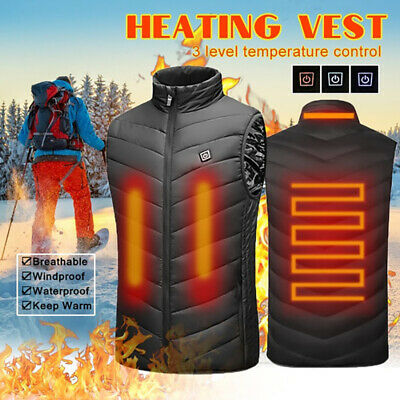 Lowest Price! Electric USB Heated Vest Jacket Coat Warm Up Heating Body Warmer