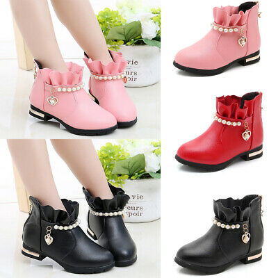Girls Kids Princess Low Heels PU Leather Ruffle Ankle Boots Martin Chelsea Shoes