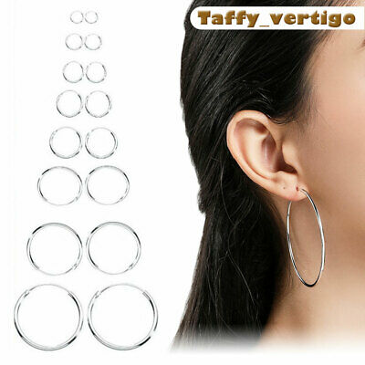 925 Sterling Silver Hoop Sleeper Earrings 8mm-50mm SMALL Medium LARGE RINGS SETS