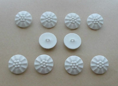 White Patterned Buttons  x 10  [ 2.6cm ]