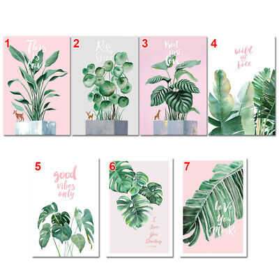 Modern Nordic Green Plant Leaf Canvas Art Poster Print Wall Picture Home ZKY
