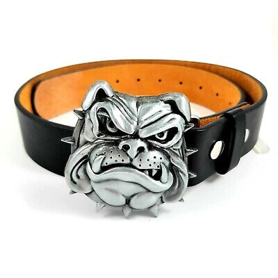 British Bulldog Belt Buckle Biker Metal Gothic Dog Leash Outlaw Punk Uk Seller