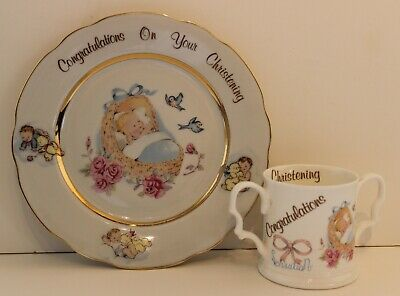 Manston China Christening Gifts, Matching Plate and Mug Both In VGood Condition