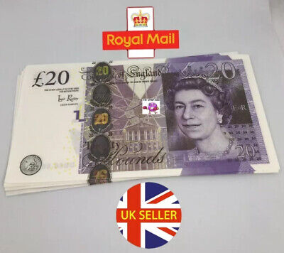 50x 20 Notes Realistic UK Pounds Prop Money British ACTUAL SIZE! -Fast shipping