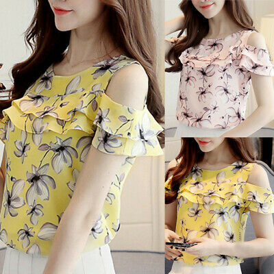 Summer Women Off Shoulder Ruffles Tops Casual Chiffon Floral Print Blouses Shirt