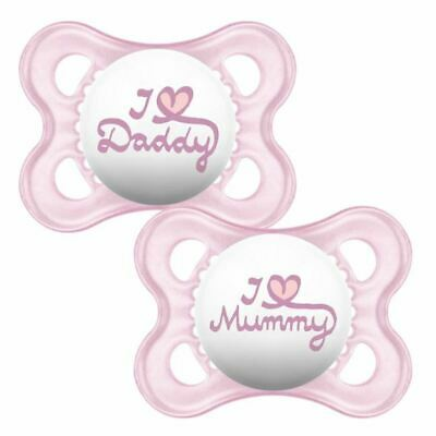MAM 0+M Soother I Love Daddy / I Love Mummy - Pink