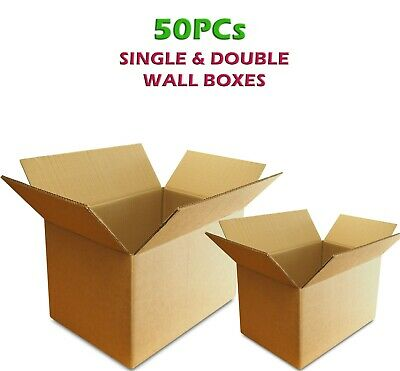 50pc STRONG Corrugated Cardboard Boxes SINGLE & DOUBLE WALL Small Medium Large