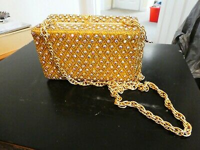 Vintage Gold coloured box evening bag with chain strap. By Le Soir