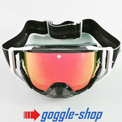 2020 Spy Foundation Motocross Mx Bike Goggles - Black White / Red Mirror Lens
