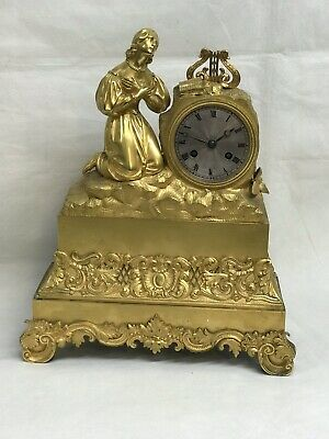 French Empire Ormolu Mantle  Clock, Silk Suspension, Chimes On A Bell