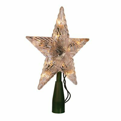 """7"""" Clear Lighted Star Treetop Christmas Tree Topper Accent Decor 10-Light Set"""
