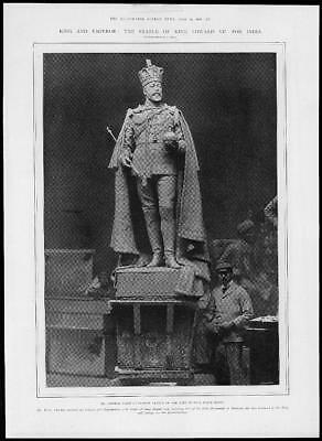 1902 Antique Print - ROYALTY STATUE King Edward VII George Wade Sculptor (371)