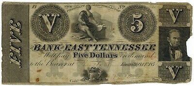 1854 $5 Bank of East Tennessee Knoxville Jonesboro ☆☆ Obsolete Note ☆☆ 250