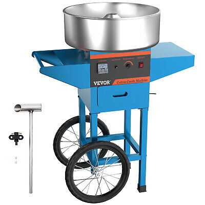 Electric Commercial Cotton Candy Machine /Floss Maker Blue Cart Stand
