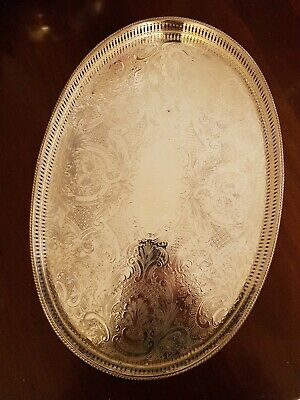 Good Vintage Sheffield Reproduction Silver Plated On Copper Serving Tray