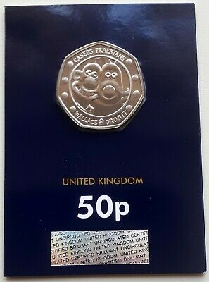 NEW 2019 WALLACE AND GROMIT UK 50p COIN - CERTIFIED BU - ENCAPSULATED