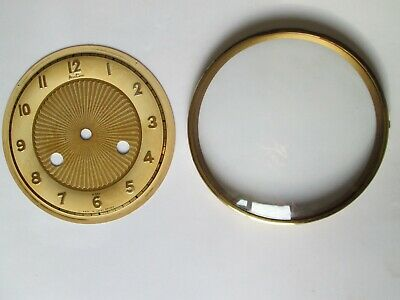 Vintage Hinged Clock  Bezel With Dial And Convex Glass.