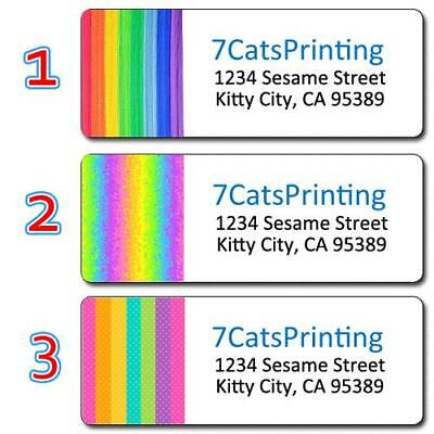 30 Rainbow Colored Return Address Labels Pattern Stripes Lines Colorful Pride