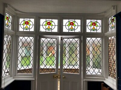 Traditional leaded light stained glass window panels. Multiple sizes available