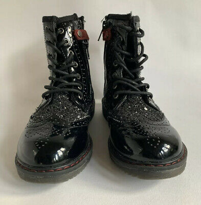 WRANGLER Girls Black Patent Leather Lace Up Brogue Glitter Boot Size UK 13 EU 31
